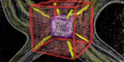 Messen in der vierten Raumdimension. Handgemalt mit Photoshop von Joe Freiburg. Veröffentlicht auf www.geilemathe.de