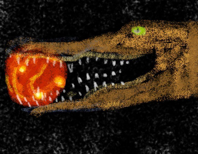 Egal, was wir sehen, wir sehen die Vergangenheit. Handgemalt mit Photoshop von Joe Freiburg. Veröffentlicht auf www.geilemathe.de