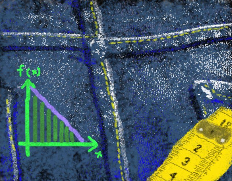 Put yout Jeans on - Auf Entdeckungsreise mit der Ableitung. Handgemalt mit Photoshop von Joe Freiburg. Veröffentlicht auf www.geilemathe.de